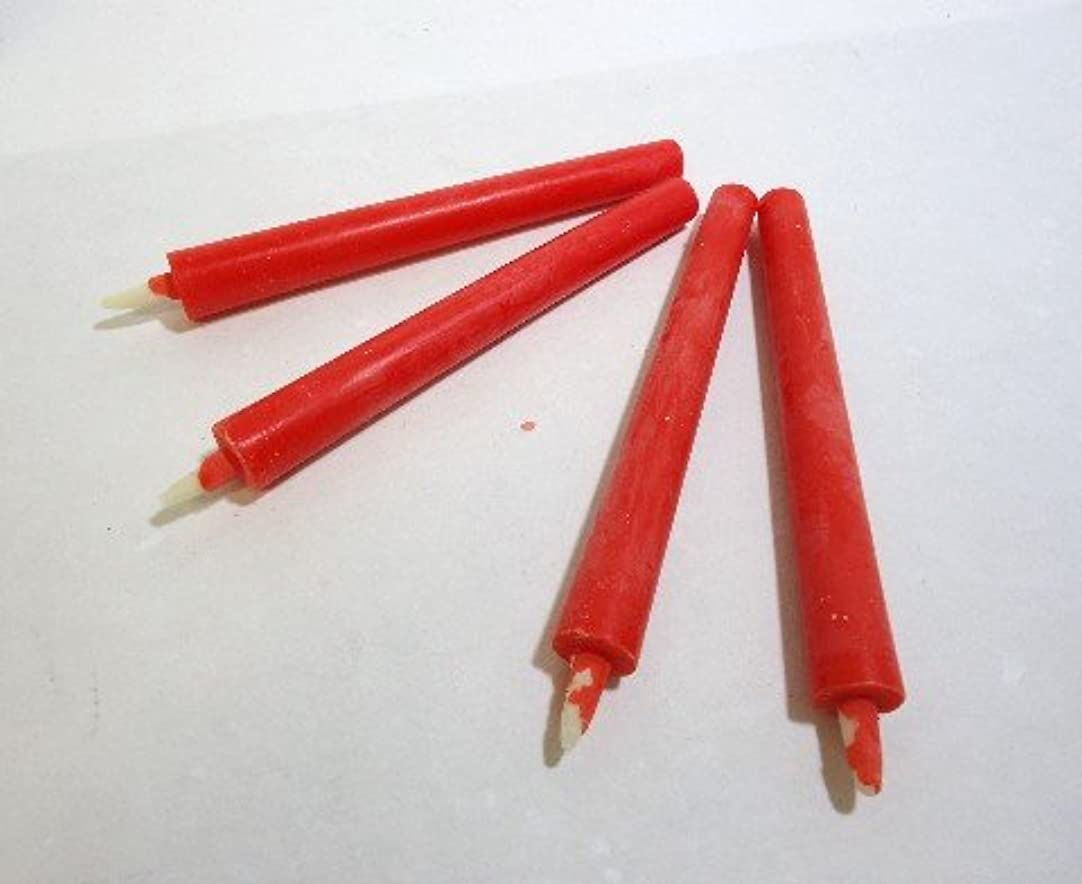 レンダリング計算するファランクス和ろうそく 型和蝋燭 ローソク【朱】 棒 4号 朱色 25本入り 約14センチ 約1.5時間燃焼