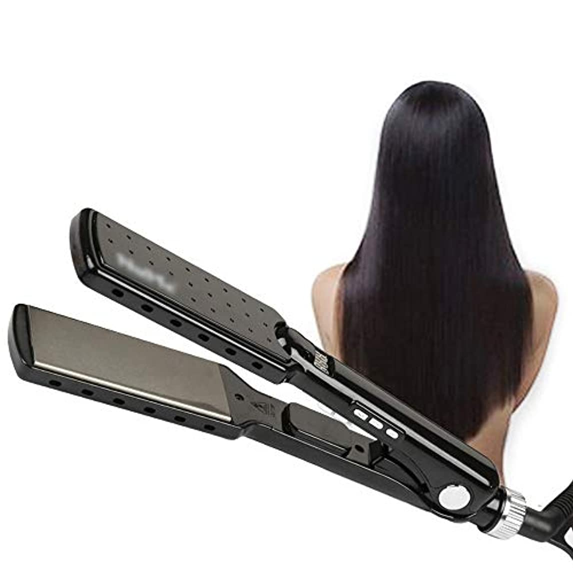 電気放射する九時四十五分VDGHA デジタルLCDディスプレイカーリングアイアンワンド設定温度チタン毛のストレートデュアル電圧ストレートアイロン調整可能 (色 : 黒)