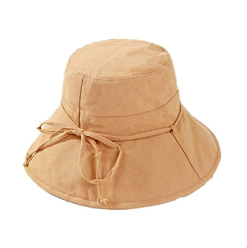 UVカット 帽子 レディース 日よけ 帽子 レディース つば広 ハット 日よけ 折りたたみ 軽量 無地 洗える 紫外線対策 ハット カジュアル 旅行用 日よけ 夏季 女優帽 小顔効果抜群 (ブラウン)