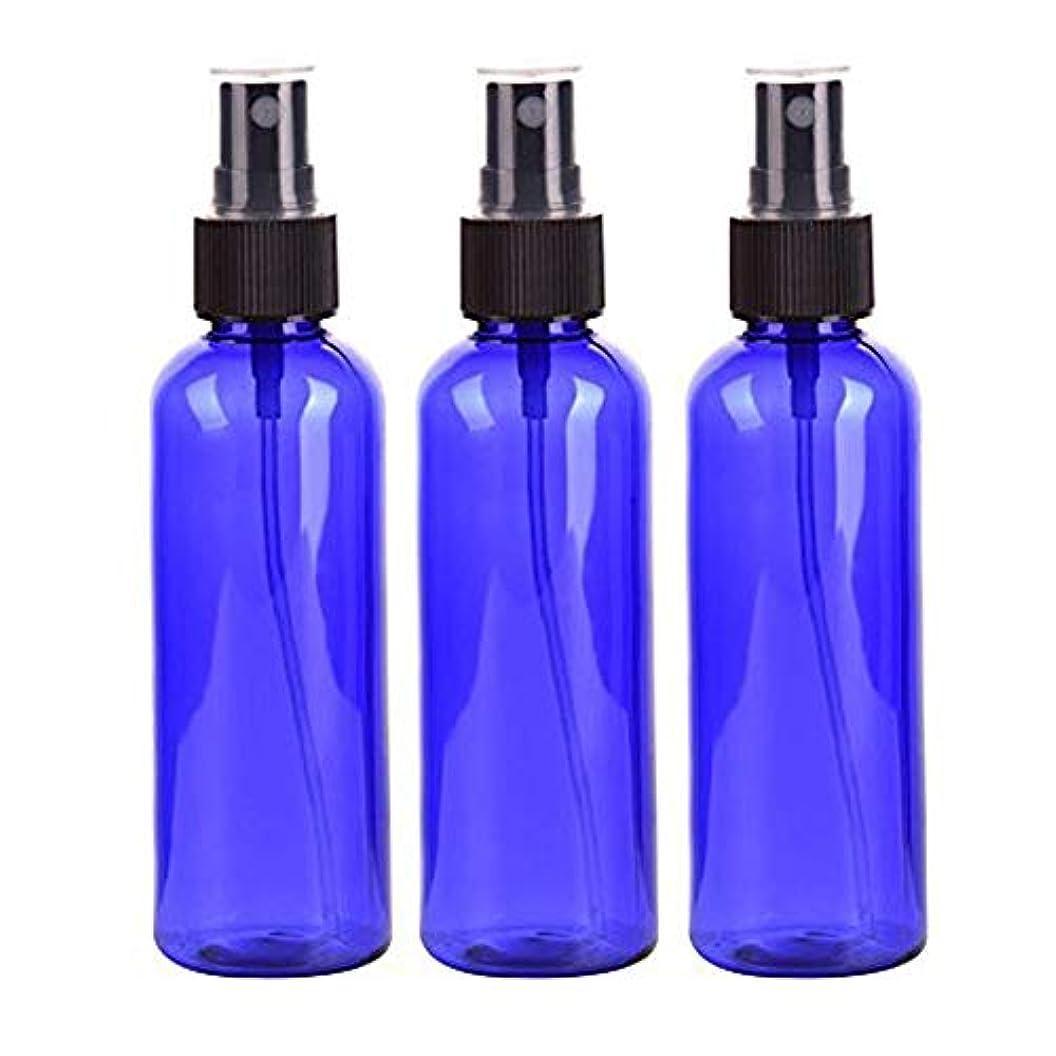 発表ドナウ川公平なLindexs スプレーボトル 50mL プラスチック ブルー黒ヘッド空容器 3本セット (青)