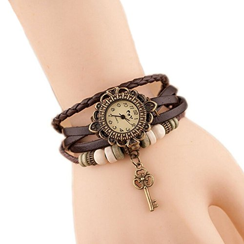 Doitsa 本革 ベルト クォーツ腕時計 アンティーク調 レザー レディース腕時計 Watch 鍵 レトロ おしゃれ カーキ...