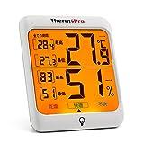 ThermoPro 湿度計 デジタル温湿度計 室内温度計湿度計 最高最低温湿度値表示 バックライト機能付き TP53