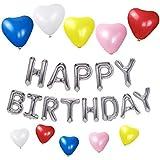 誕生日パーティー HAPPY BIRTHDAYシルバーバルーン ハート型風船10個 5色 誕生日 飾り付け セット(lv-07)