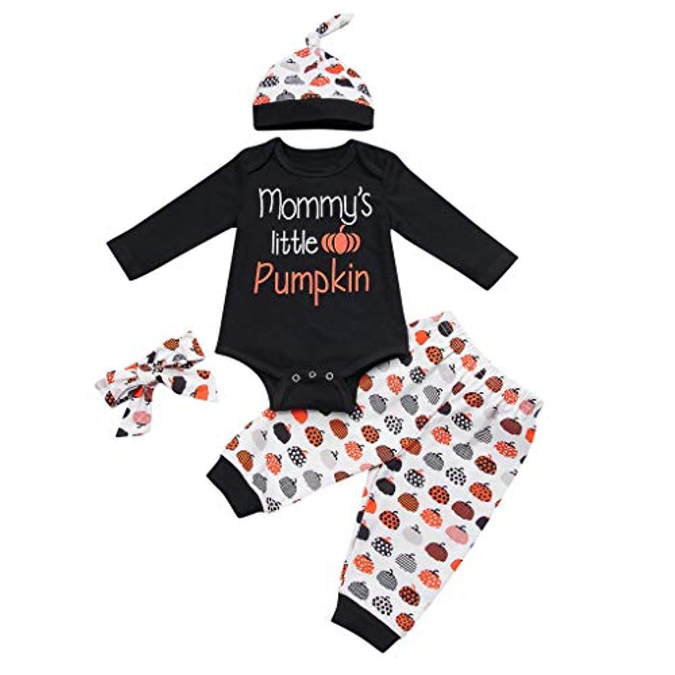 土器レース飲み込むMISFIY ロンパース 幼児 ベビー服 子供 キッズ 男の子 女の子 上下セット 帽子 ヘアバンド コットン ハロウィン 仮装 かわいい 柔らかい (6M)