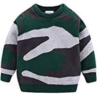 Mud Kingdom Toddler Boys Sweater Green Camouflage Crewneck