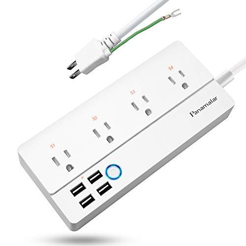 Panamalar Wi-Fi スマートコンセント スマートパワーストリップ、AlexaとGoogleホームによる音声制御、のサージプロテクター15Aマックス、4ACアウトレット&4 USBポートのために充電Samsung Galaxy S9, iPhone X/8/7/6S/Plus/iPad, そしてタブレッ