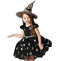 AMIGOYO 子供用 Halloween ハロウィン コスチューム 女の子 ガールズ コスプレ セット 仮装 帽子 ドレス スカート 魔女 巫女 悪魔 変装 文化祭 学園祭 パーティー ギフト プレゼント