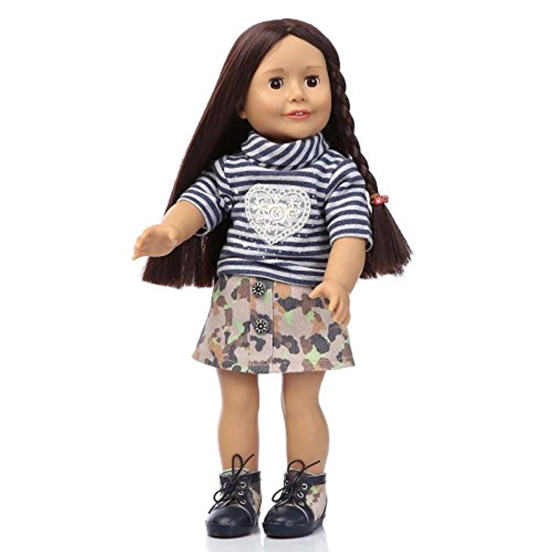 Nicery 人形 かわいいおもちゃリボーンドールクロスボディ高ビニル16インチ45センチメートルリアルアイズ可動ガールアクリル目で現在のホワイトハートウィッグ Reborn Baby Doll Christmas Gift