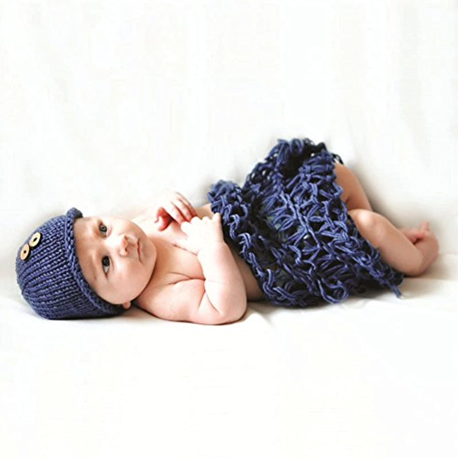 Space PH Newborn photography props crochet shoot clothes 2 colors beanie with button +blanket handmade knit 0-3month baby photo clothes by Space PH