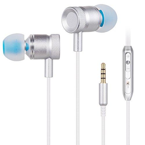 Digisunix イヤホン カナル型 高音質 重低音 ステレオ マイク 有線 3.5 MM ヘッドホン iPhone/iPad/Androidに対応 通話可能-シルバー