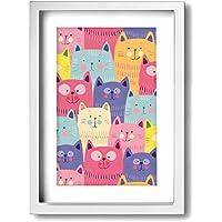 Augustinehead 猫 アートフレーム 壁掛け インテリア絵画 部屋 装飾 額縁 フレーム付き 釘付き アート ポスター ウォールアート フォトフレーム 壁アート 木製 インテリアアート A4(33X24cm)