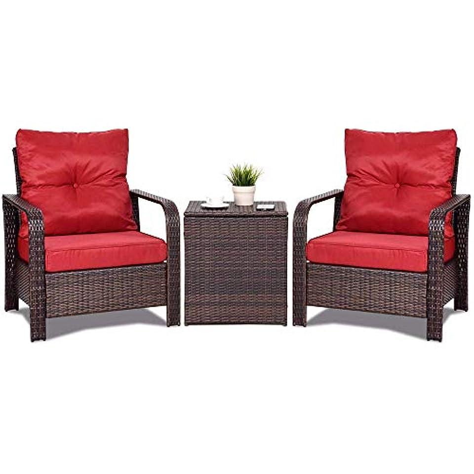 迅速許可環境に優しい3ピース籐籐パティオビストロ家具セットチェア収納テーブル+クッション新しい屋外家具 - 屋外ガーデン家具セット