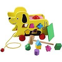 キッズ 木製 ドッグ トレーラー おもちゃ ノックイット ボール 幾何学模様 お揃い 子供 早期教育玩具 犬 トレーラー ギフト