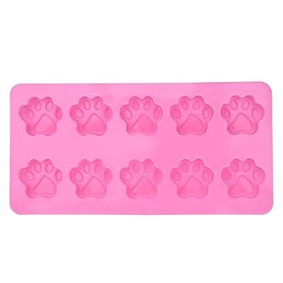 iiniim 2-Pack Food Grade Silicone Puppy Dog Paw and Bone Molds Ice Cube Chocolate Mold