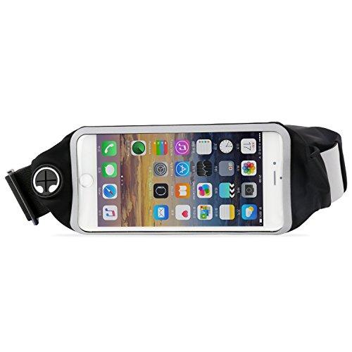 FSDUALWIN ランニングポーチ スポーツウエストバッグ 二つのポケット 伸縮性/収納力が抜群 防水防汗夜間反射 スマホ画面タッチ可能 イヤホンホール付き ランニング/登山/旅行/ジョギング/サイクリング用 iPhone6/6S/7plusなどに対応 (黒色)