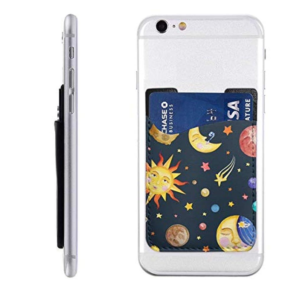 運河事前に海賊かわいいカラフルなスペース太陽と月 スマートフォン ポケット 背面 薄型 便利 背面カードホルダー 名刺入れ スマホケース カード収納 全機種対応