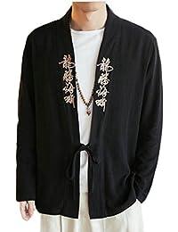 Fly Year-JP メンズ?ビンテージ?中国風の刺繍サイズコットンリネンカーディガンの上にジャケット
