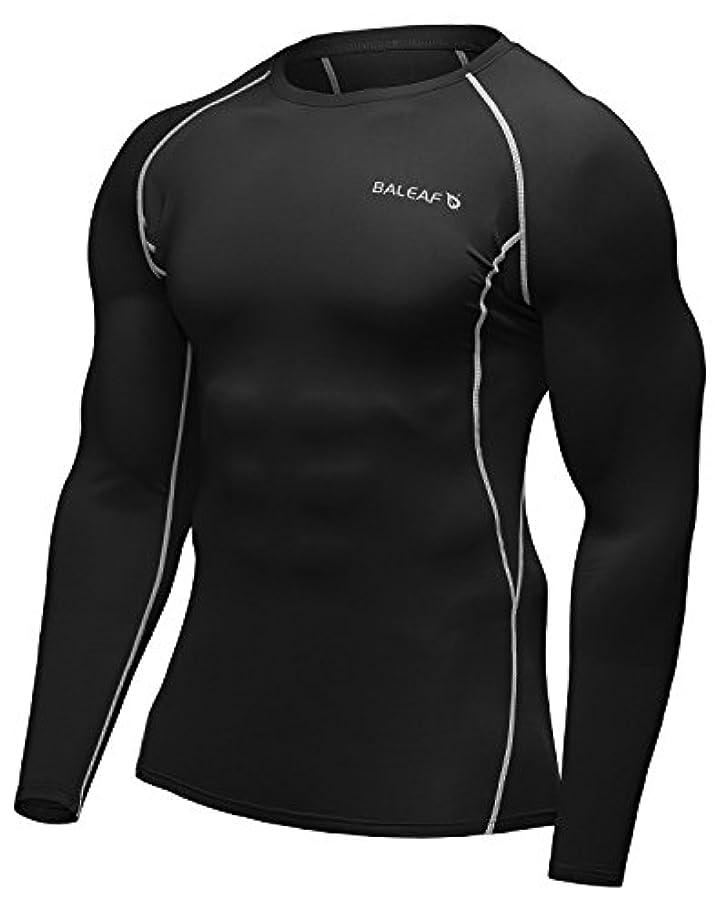 荒廃する歯痛採用するバリーフ(Baleaf) メンズ コンプレッショウェア スポーツシャツ 長袖シャツ 着圧 吸汗速乾 グレー サイズL