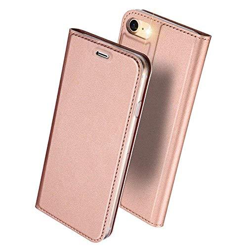 DUXDUCIS iPhone7 iPhone8 ケース 手帳型 合皮レザー 耐衝撃 カード収納 ローズゴールド