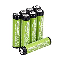 AmazonBasics AAA Rechargeable Batteries (8-Pack) Pre-charged, Packaging May Vary