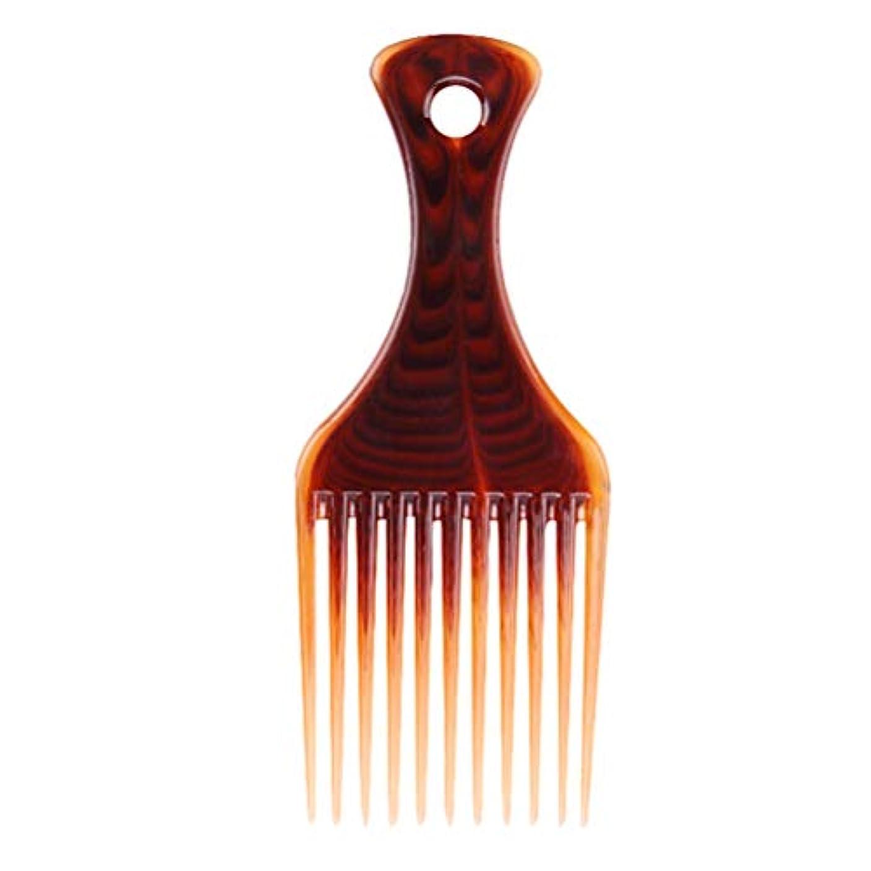 印象的なクリープの頭の上HEALIFTY プラスチックワイドトゥースコームサロン理容理髪ブラシヘアフォークコーム(コーヒー)