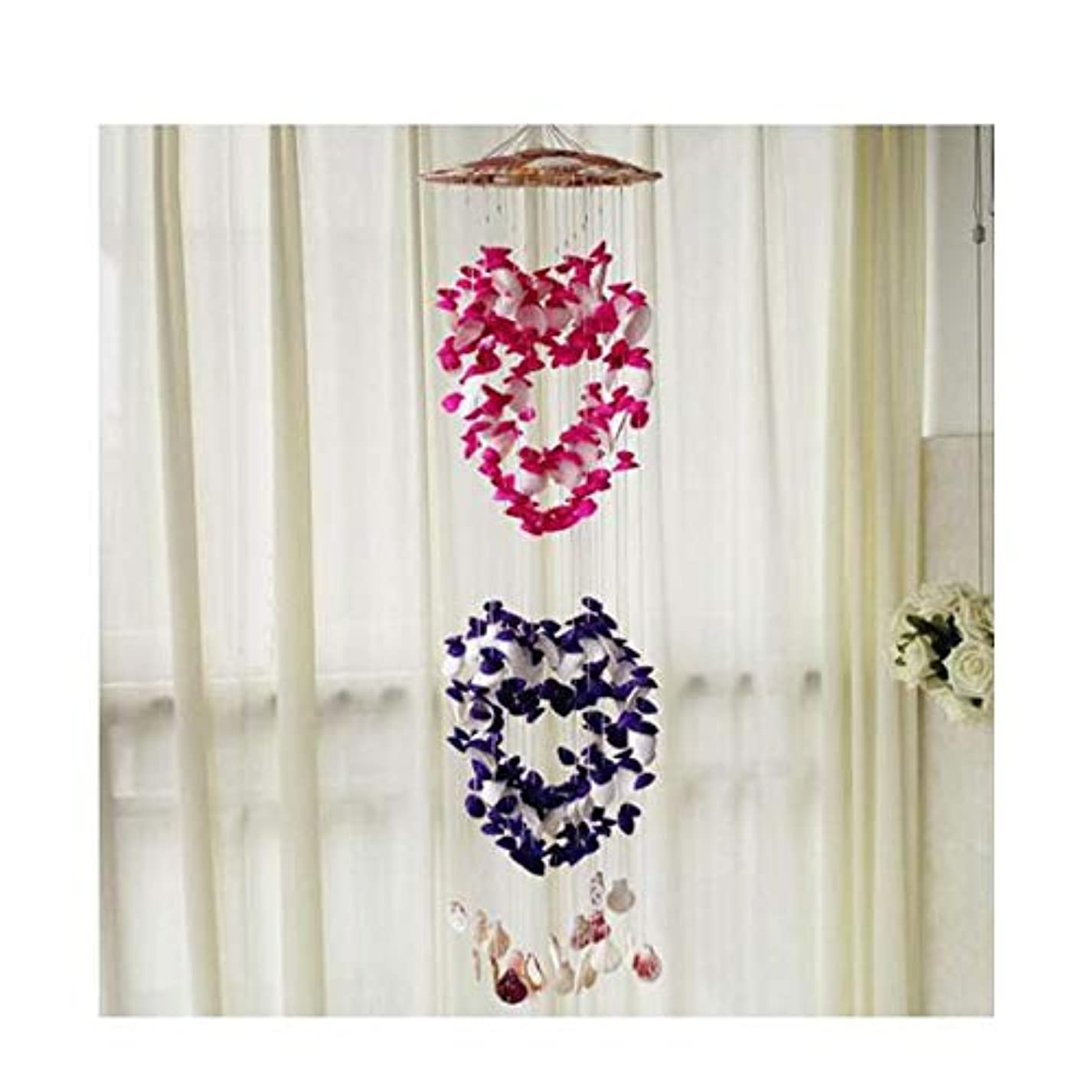 切手インデックス偉業風チャイム、シェル風のチャイムペンダント、自然シェル風チャイムパターンハート型の飾り、カップル誕生日プレゼント (Size : 80cm)