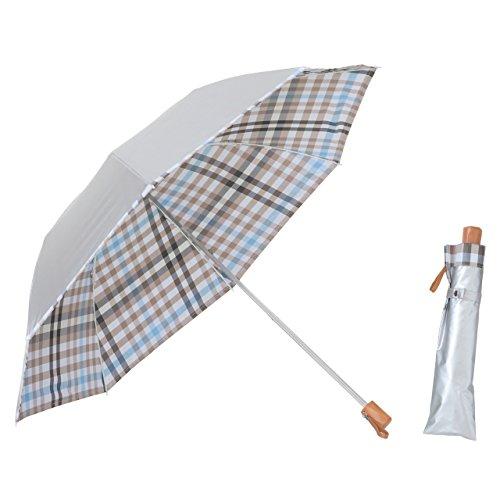 リーベン 日傘 晴雨兼用 折りたたみ シルバー/先染チェック ブルーB <ひんやり傘> 【LIEBEN-0561】 紫外線遮蔽 UPF50+ UVカット率99%以上 遮光率99%以上 遮熱効果
