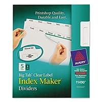 AveryインデックスMaker with Bigタブ、11x 8–1/ 2、5-tab、ホワイト