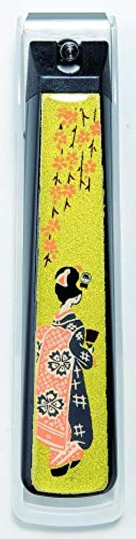 天の有効化聴衆蒔絵爪切り舞妓 紀州漆器 貝印製高級爪切り使用