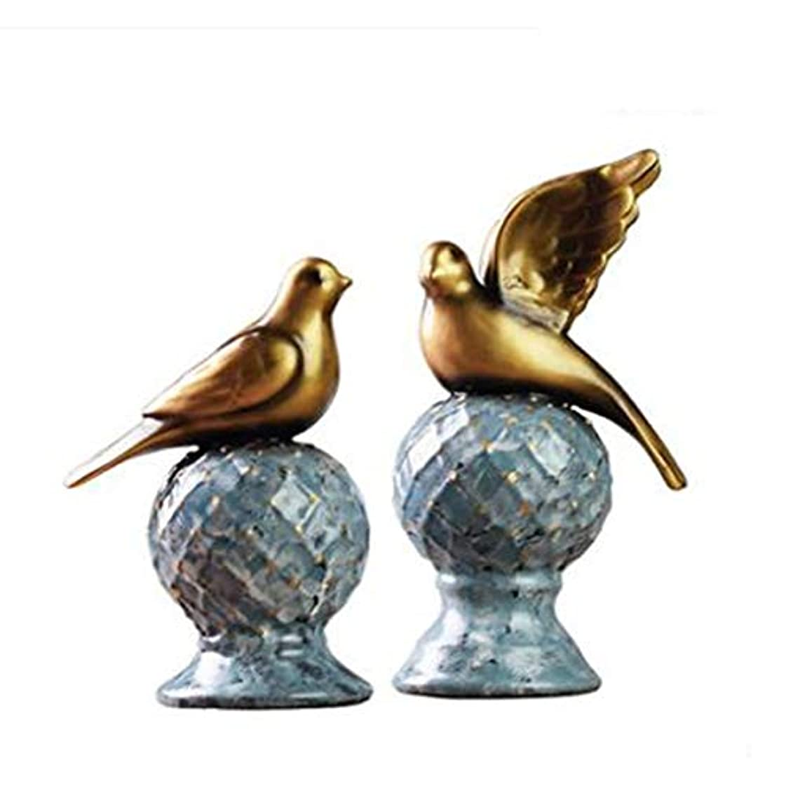 求めるの配列ピースKaiyitong01 装飾品、装飾品、現代ヨーロッパの居間、ポーチ、樹脂工芸品、アメリカのテレビキャビネット、鳥の陳列,絶妙なファッション (Color : Gold)
