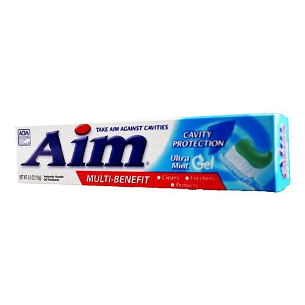 暴徒やむを得ないパッドAim Cavity Protection Anticavity Fluoride Toothpaste, Ultra Mint Gel 180 ml (Pack of 12) (並行輸入品)