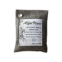 AlfaView竹炭バッグ 空気清浄バッグ、100%天然竹炭200 g自然に活性化されたBmbooチャコール芳香剤消臭剤臭気除去剤臭気吸収剤 無毒 無香料 台所 玄関 車内用 梅雨などに適しています (1 pack)