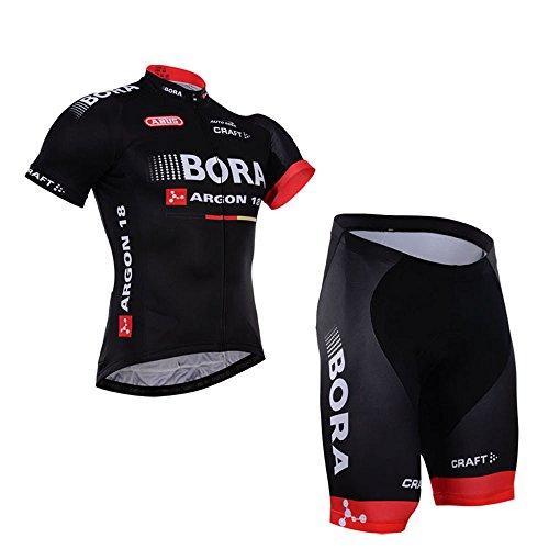 2016 Bora Cycling Jersey Shorts Set 男性自転車サイクルジャージチームエディション半袖ジャージーセット (XL)