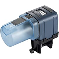 WANYI 魚自動給餌器 自動魚フィーダー バッテリ駆動 水槽用 餌やり器 出張・旅行・急用などの留守中の餌やり 1日1~4回の自動給餌 自動調節 ブラック LCDディスプレイ (ブルー)