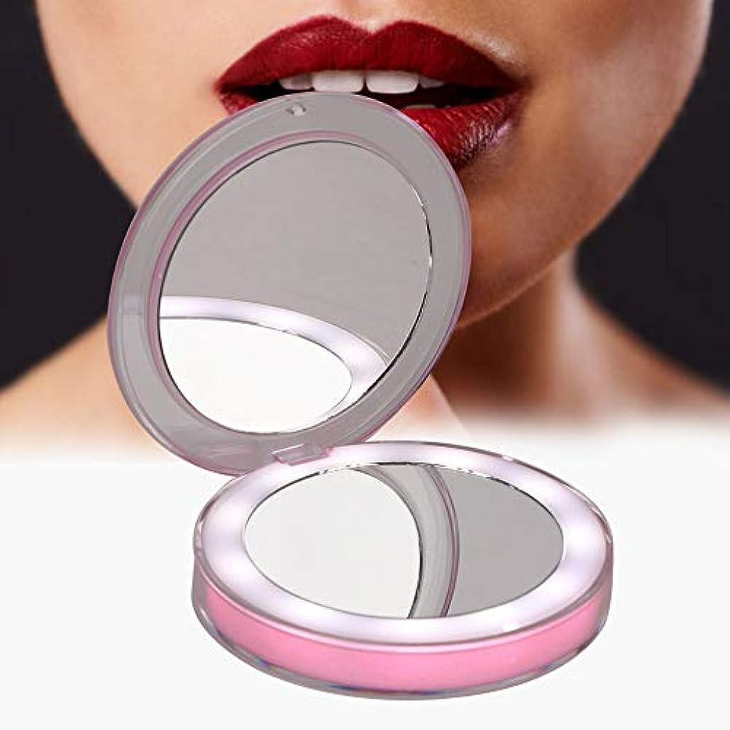 魅惑的なお手入れ一回ポータブル折りたたみ化粧鏡ポケットポータブル折りたたみコンパクトポケットミラーインテリジェントセンサーLEDライトメイクアップミラー(03)