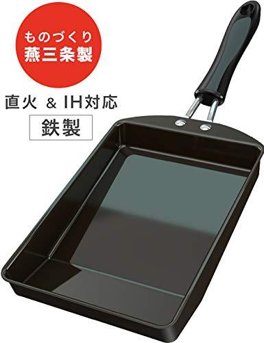 【 i-WANO × 燕三条 】 卵焼き フライパン 日本製 14×19cm IH対応 鉄製 巻くのが簡単なたまご返しスペース ...