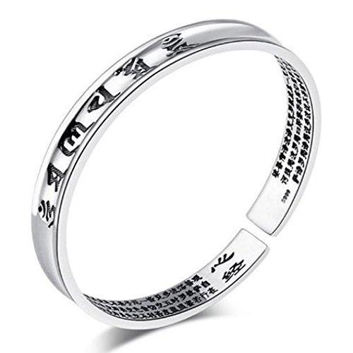 [해외]여섯 자 진언 반야 심경을 새긴 실버 뱅글 팔찌 패션 액세서리 조절 (블랙)/Rokugo Shinkansen Silver bangle bracelet carved with general warts longitude Fashion accessory adjustable (black)