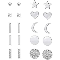 10 pairs/set Stainless Steel Star Moon Star Bar CZ Stud Earrings Mini Round Cubic Zirconia for Women Girls Hypoallergenic Dainty Party Punk Jewlry