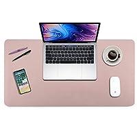 """BUBM デスクブロッターパッド PUレザー デスクパッドプロテクター マットデスクパッド マウスパッド オフィスや自宅用 多機能で丈夫 31.5"""" x 15.7"""" ピンク"""
