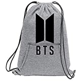 Melcom Cotton Drawstring Bag Sports Sweat-Shirt BTS Printed Cinch Backpack
