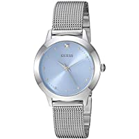 GUESS Stainless Steel Mesh Bracelet Watch with Sky Blue Genuine Diamond Dial. Color: Silver-Tone (Model: U1197L2)