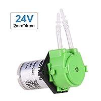 Aibecy 蠕動ポンプ 世帯小さい ウォーターポンプ マイクロ蠕動ポンプ ミュート 自吸式ポンプ 平板 24V グリーン 2mm×4mm