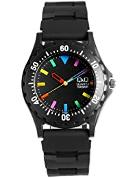 [シチズン キューアンドキュー]CITIZEN Q&Q 腕時計 10気圧防水 カラーウォッチ ラバー ブラックマルチ ダイバーズデザイン メンズ レディース キッズ