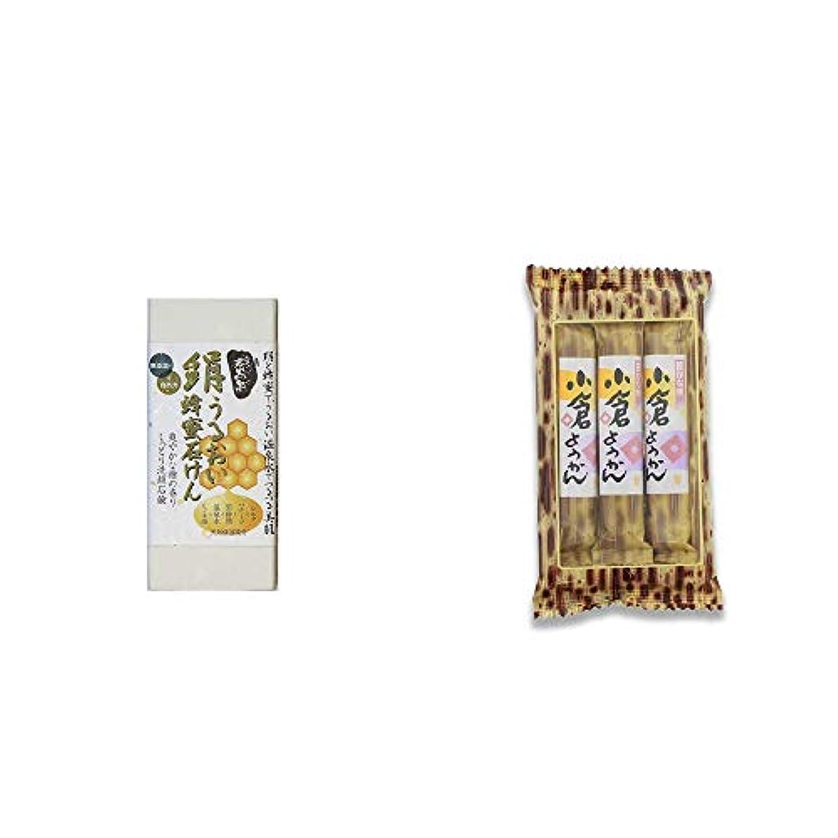 手術レーダーマーティンルーサーキングジュニア[2点セット] ひのき炭黒泉 絹うるおい蜂蜜石けん(75g×2)?スティックようかん[小倉](50g×3本)