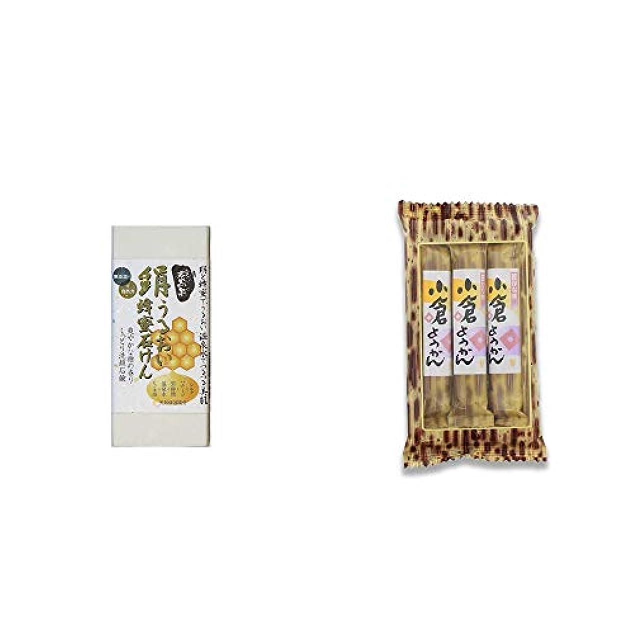 松明ペチュランス拳[2点セット] ひのき炭黒泉 絹うるおい蜂蜜石けん(75g×2)?スティックようかん[小倉](50g×3本)