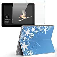 Surface go 専用スキンシール ガラスフィルム セット サーフェス go カバー ケース フィルム ステッカー アクセサリー 保護 ラグジュアリー 雪 結晶 冬 005028