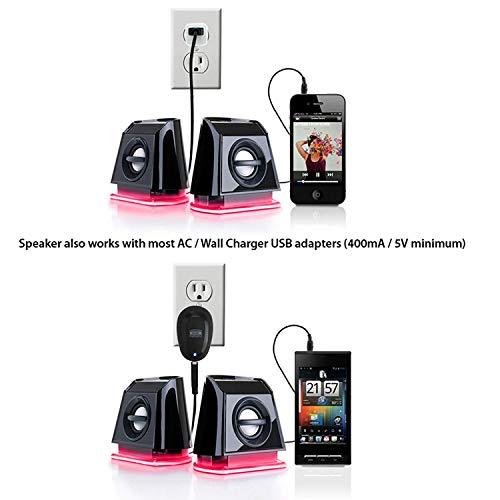 『GOgroove BassPULSE 2MX 2.0 USB マルチメディアスピーカーシステム 赤色LED、デュアルドライバー、パッシブサブウーファー搭載 - PC, Apple MAC, Dell などのコンピューターに対応』の7枚目の画像