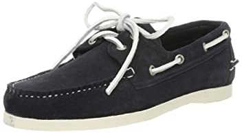 Hand Sewing Moccasin: Suede Boat Moccasin 115-13-0546: Navy