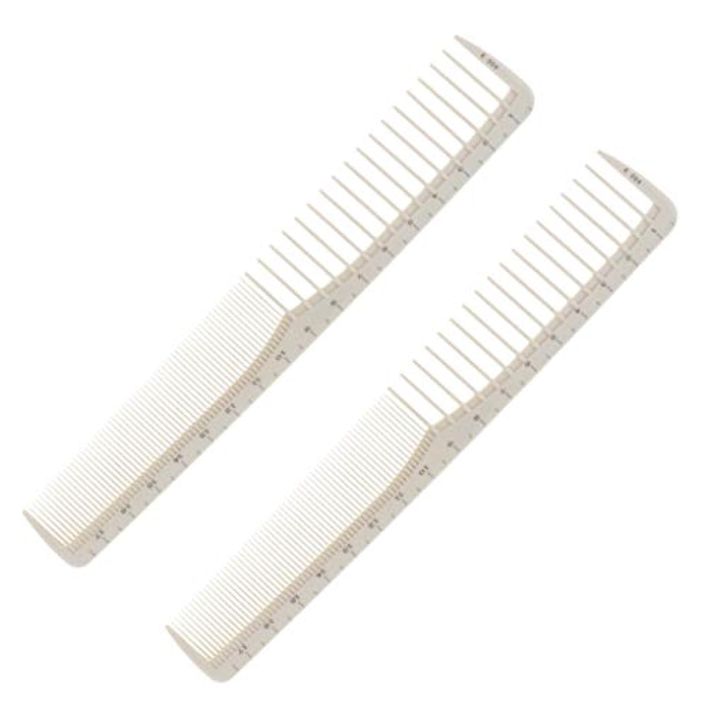 欠陥ナインへレザー樹脂 コーム 髪櫛 ヘアカットコーム 低静電気 耐熱性 軽量 サロン 家庭用 スケール付き 2本入り