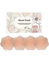 シリコンパッド - ニプルス レディース シリコンブラ ニップルシール 繰り返し使用 女性用 洗えるシリコン製 ベージュ
